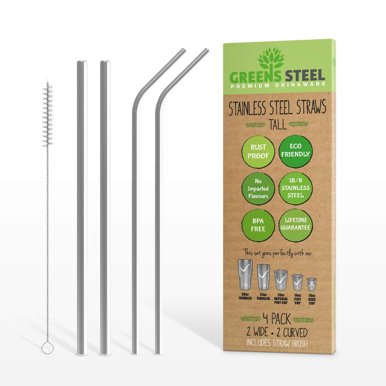 Green Steel Reusable Straws